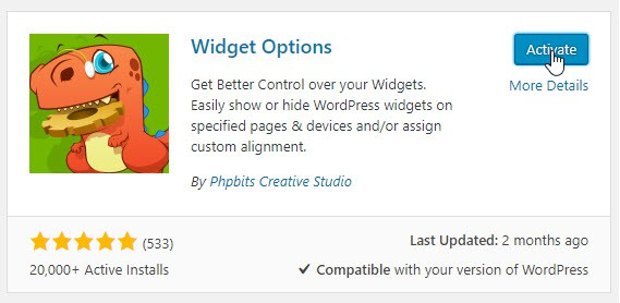 Active the Widget Options plugin