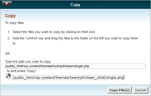 Copy file window in cPanel