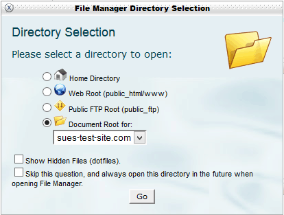 File manager directory selection window
