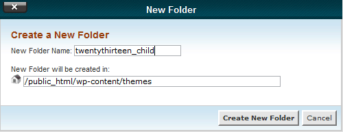 Name New Folder window in cPanel
