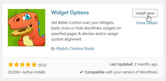 install widget options plugin from WordPress repository