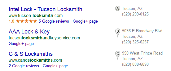 3-pack in Google local search results